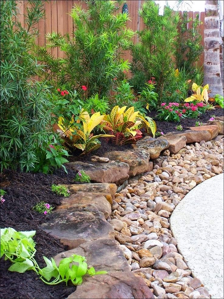 Layered rock border... Love this look!! | Outdoor Areas