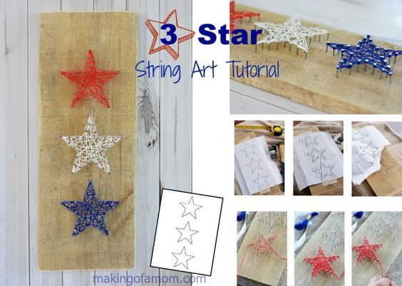 3 Star String Art Tutorial - a step-by-step guide to creating this darling Patriotic Star String Art.