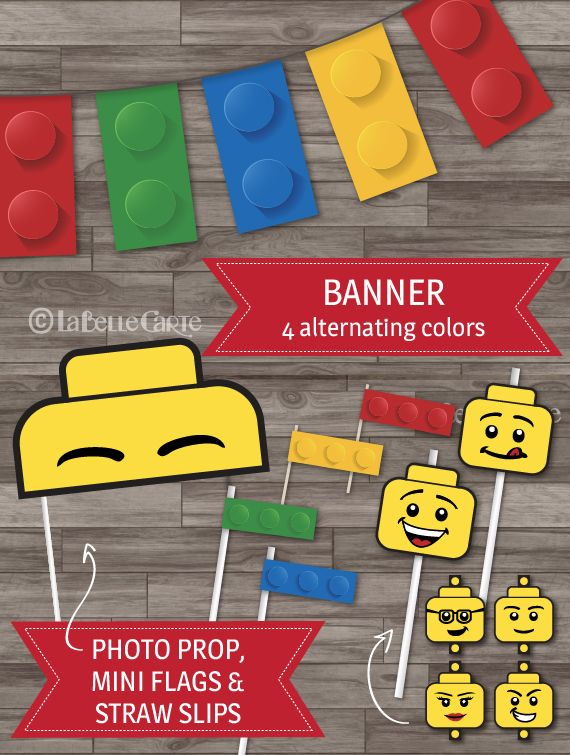 INSTANT DOWNLOAD - Lego party decor, Lego party pack, Building Block Cupcake Toppers, Lego Banner, Lego Invitations - Food Labels, Thank You Tags and more!   www.WonderBash.com