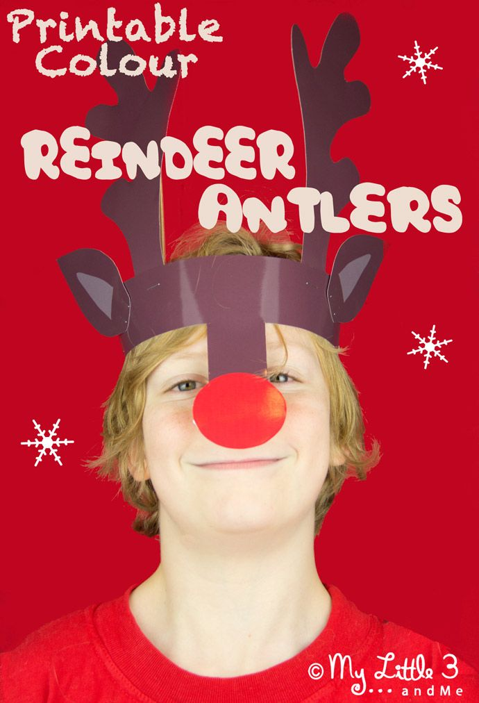 Reindeer Antlers Christmas Headband-a free colour printable because we don't always have time to get the paint out! From My little 3 and Me.