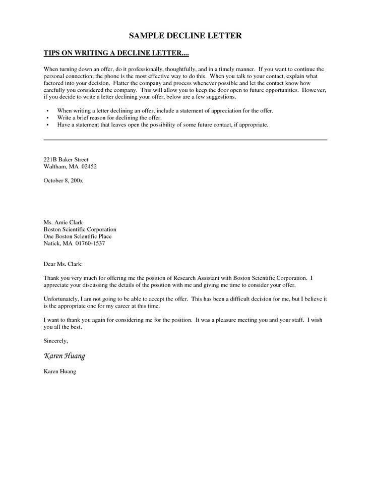 10 best Decline Letters images on Pinterest Cover letter sample