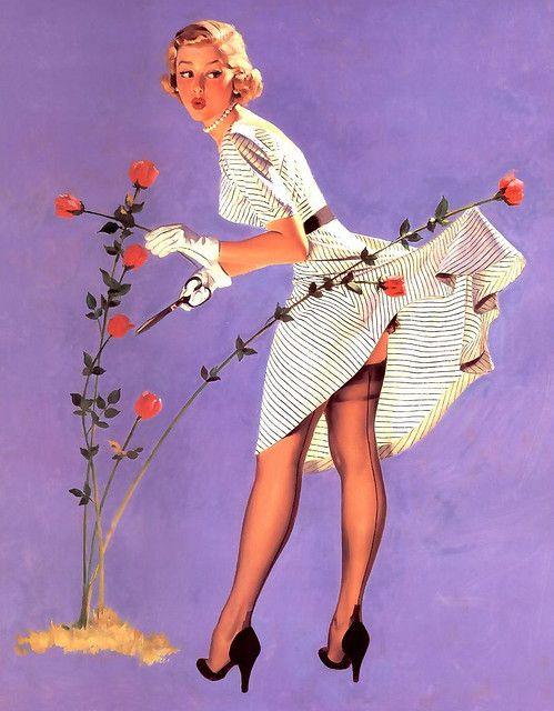vintage pinup....reminds me of the Coppertone Girl all grown up.......