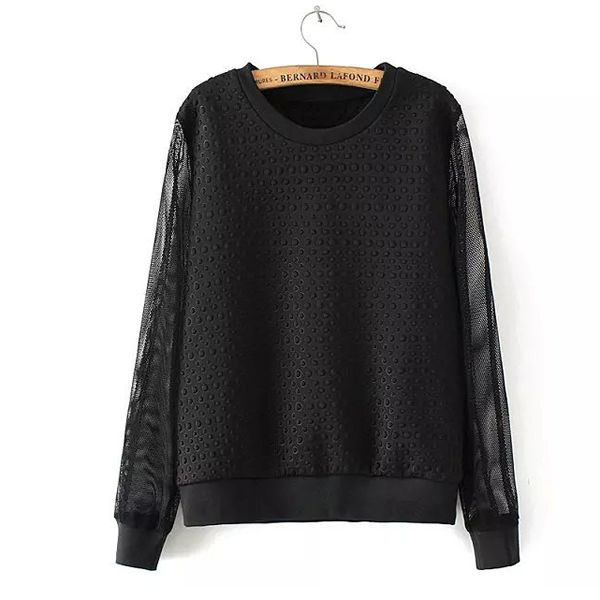 Gauze & Polyester & Cotton Women Sweatshirts, different size for choice, dot, black - yyw.com