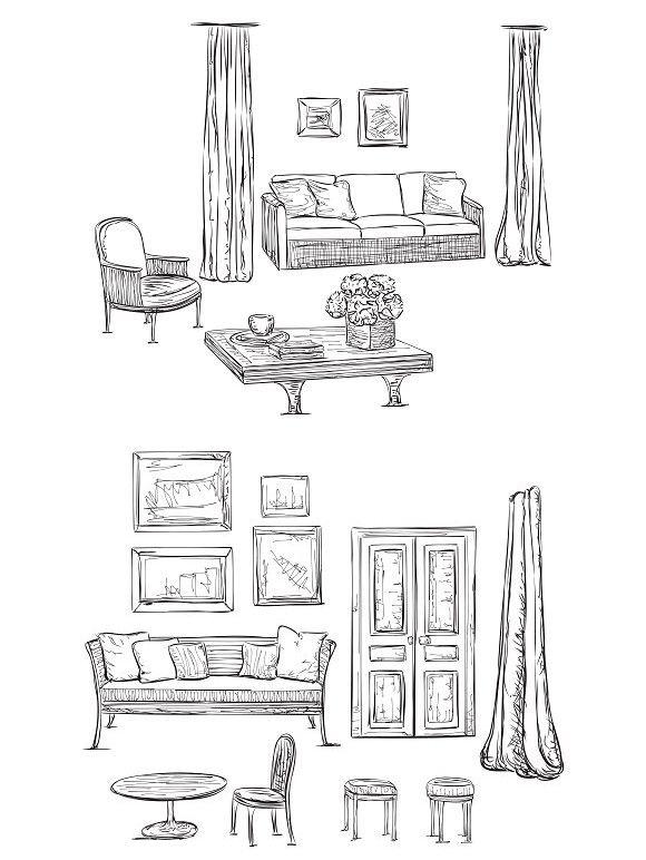 Hand Drawn Furniture Sketch Drawing