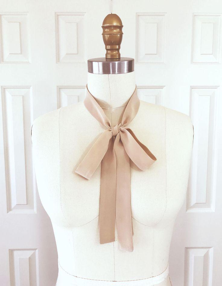 "Khaki neck scarf in pure silk is 53""x1"" Bow scarf. Thin neck scarf. Light khaki skinny scarf. Choker scarf. Skinny tie. Khaki ascot. Unisex. by SmithLab on Etsy"
