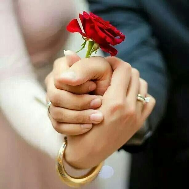 Cute wedding photo idea: hold hands while placing a single red rose between the two hands