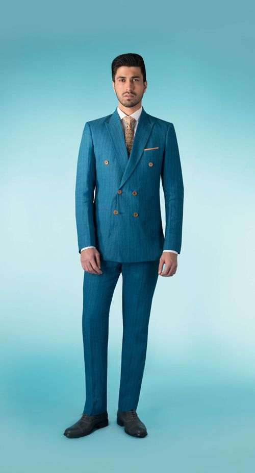 SS HOMME Teal pinstripe double breasted suit.   #summerresort #summercruise #doublebreasted #suit #printedaccessory