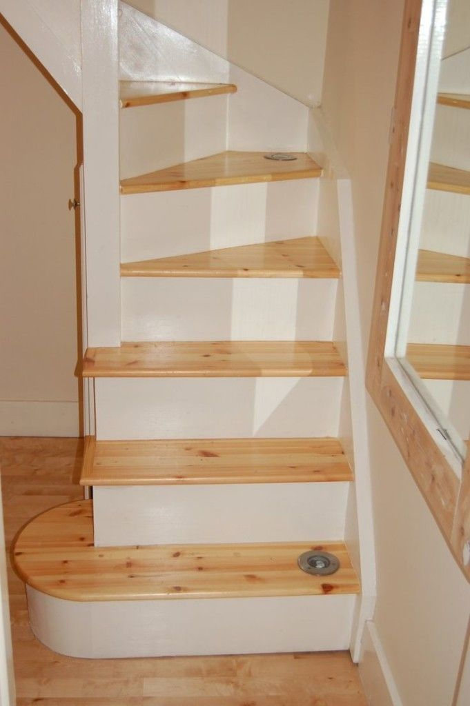 Minimalist Space Saving Loft Stair With White Wooden Material Feat Pecan  Wooden Foot Step And Recessed Part 80