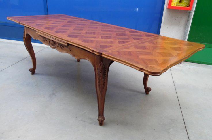 Tavolo a tiro in noce provenzale scolpito+ lato 159 apertura totale 250 cm