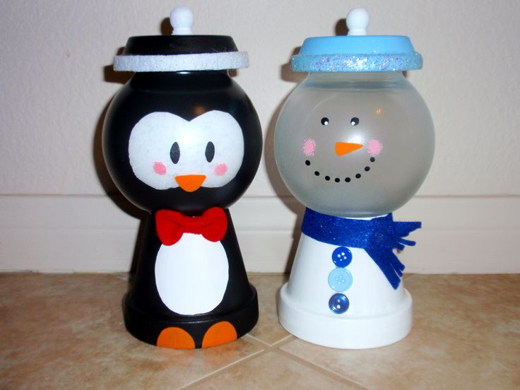 Penguin and Snowman Holiday Candy Jars - Christmas
