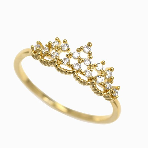 princess tiara ring yellow gold crown ring czs promise