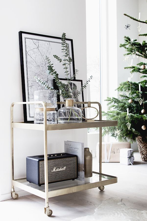 Getting into the 'spirit' of Christmas with a brass drinks trolley (from Nordal).  / Photograhy Niki / Brantmark - My Scandinavian Home  Blog (styling - Genevieve Jorn).