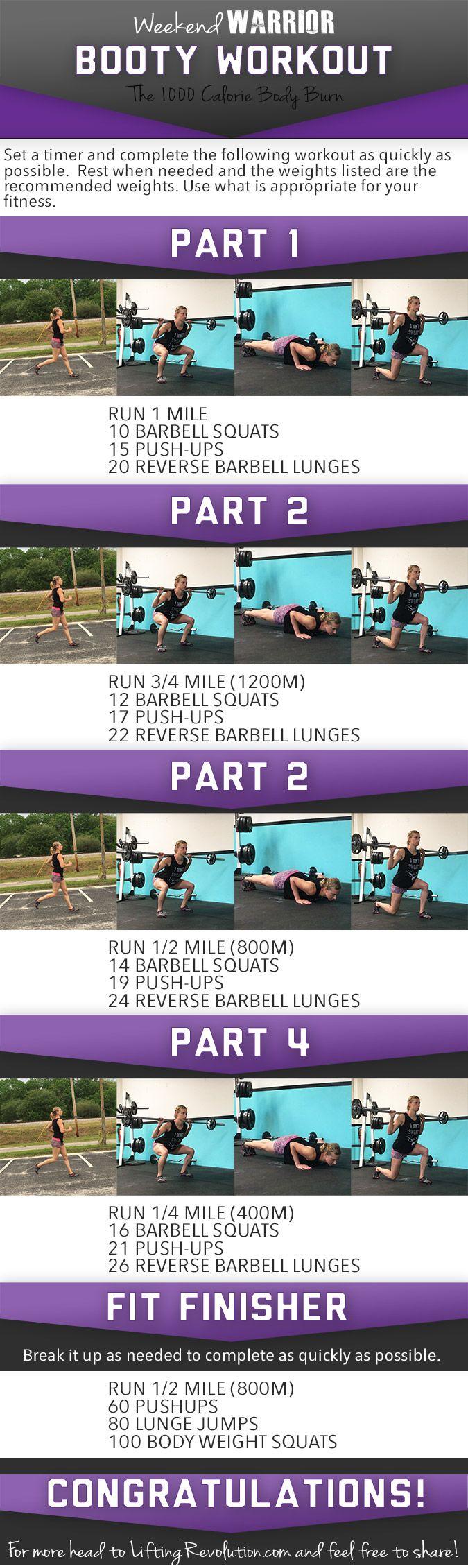 Weekend Warrior Butt Workout: Another 1000 Calorie Burning Workout #workout #barbell