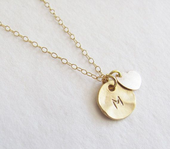 Initial Charm With 14k Gold Filled Heart Necklace