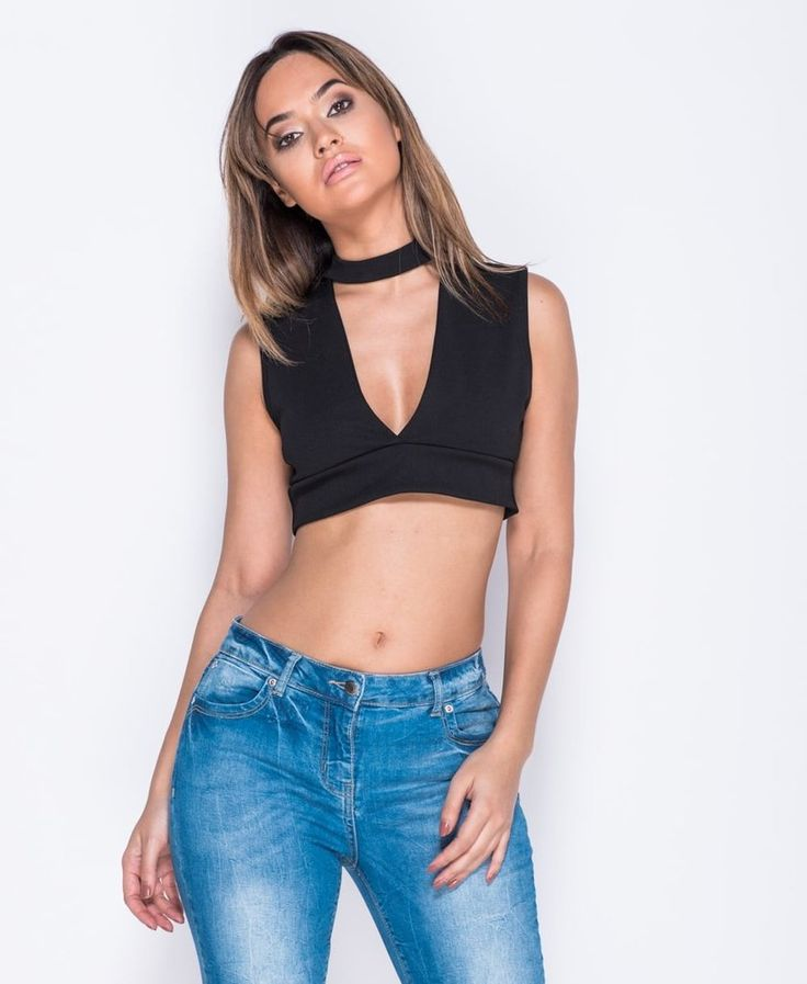 Choker Plunge Neck Crop Top
