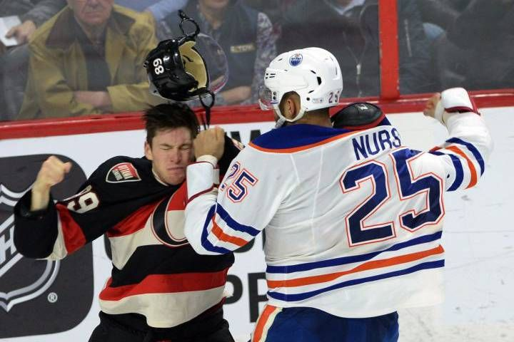 A fight between Edmonton's Darnell Nurse and Ottawa's Max McCormick brought a pair of Oilers' fans to their feet at Canadian Tire Centre.