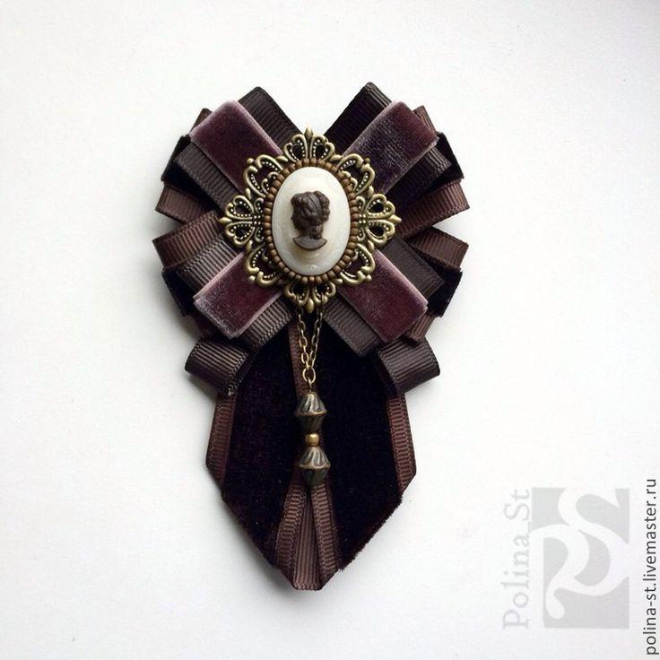 """Брошь-орден с галстучком """"Дриада 3"""" - коричневый,темно-коричневый,винтаж"""