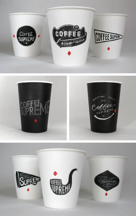 Coffee Supreme - New Zealand black and white coffee branding: Coff Logos, Coffee Cups Design, Coff Design, Packaging Design, Graphics Design, Coffee Packaging, Coff Packaging, Coff Cups, Paper Cups