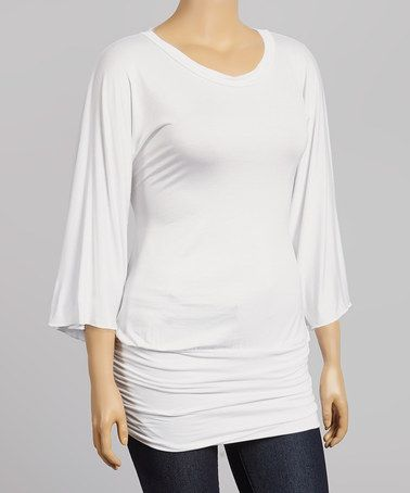 Another great find on #zulily! White Ruched Cape-Sleeve Tunic - Plus by