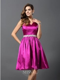 A-Line/Princess Straps Sleeveless Elastic Woven Satin Beading Knee-Length Dresses