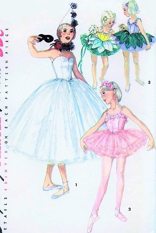 pin the tutu on the ballerina template - 50s simplicity 4863 vintage sewing pattern ballet