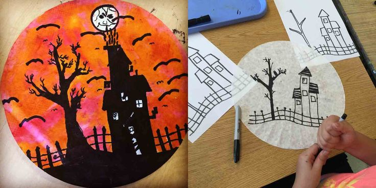 My newest most favorite-ist Halloween project. Marker silhouette on coffee filters. #silhouette #Halloweenart