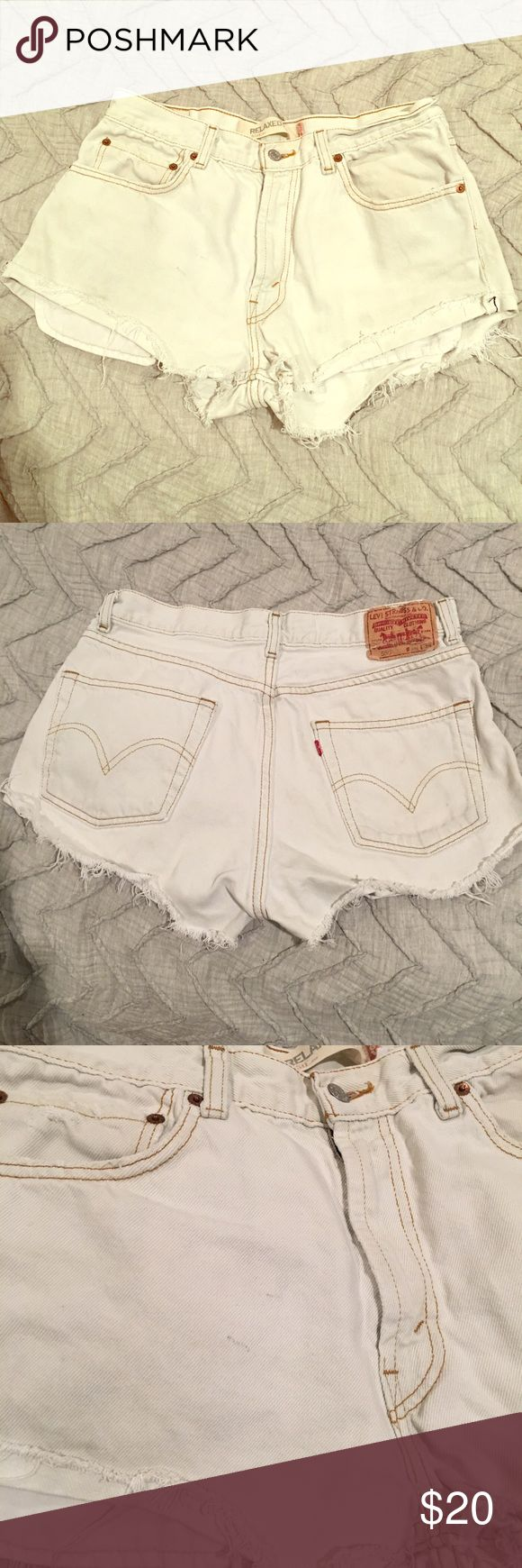 Levi High-Waisted Shorts Rolled at the bottom with light fraying. Wonderful condition( never worn out) Tiny dirt mark that should come off in the wash. Runs big! (34 but more like 29) Levi's Shorts Jean Shorts