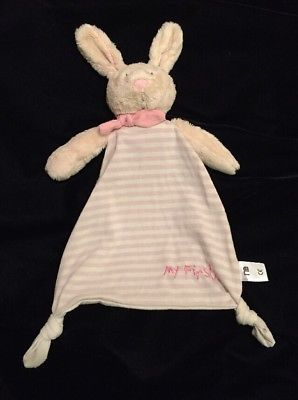 Mothercare My First Bunny Pink Cream Stripe Blanket