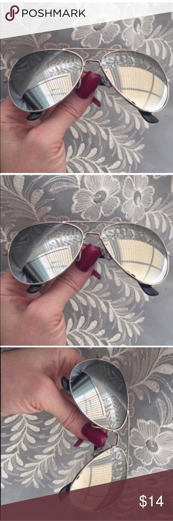 """☀️NEW☀️ Silver Mirror Aviators Silver mirror lenses. Silver frames . Black arm/ear guards. Approximately 5.75"""" across frame front, 2 x 2.75"""" each lens frame. Fit not guaranteed. All images show example of actual stocked glasses. Brand new and unworn, without tag. Drawstring pouch and small lens cloth included. No case. No brand. I do not model. No trades, no holding, no offsite payment.     ❗️PRICE IS FIRM UNLESS BUNDLED❗️ Leoninus Accessories Sunglasses"""