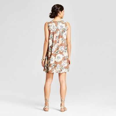 Women's Floral Printed Tank Dress with Necklace Bar - Lux II - Mocha Combo 14, Brown