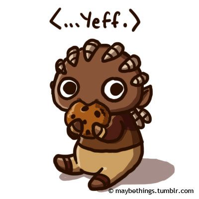 Dragon Age: Origins : chibi-Sten with a cookie!