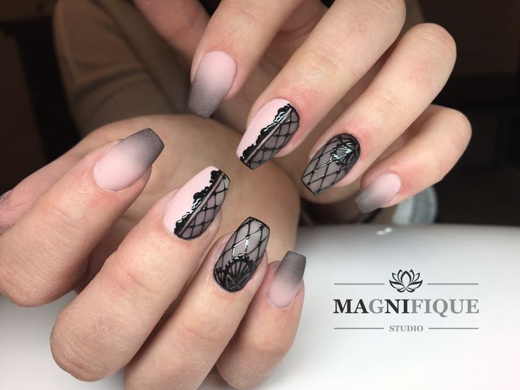 Ombre Nails Nail Art Design Black