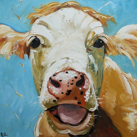 Print Cow 310 20x20 inch Print from oil painting by Roz by RozArt, $55.00