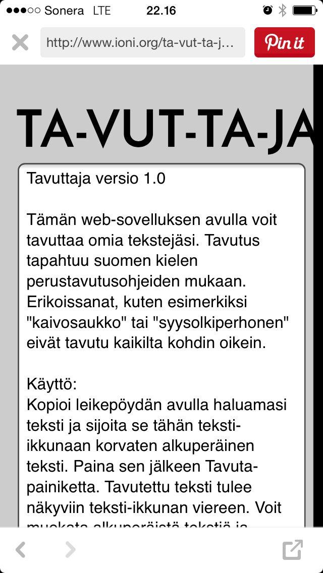Tavuta tekstejä! http://www.ioni.org/ta-vut-ta-ja/index.php