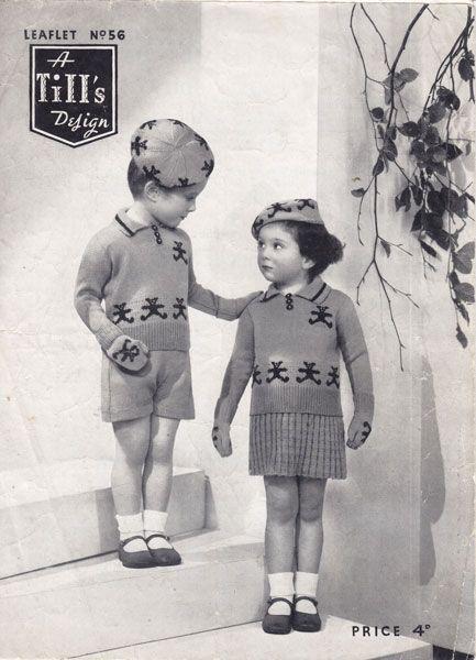 vintage girls boys set beret jumper gloves skirt shorts teddy bear motifes picture knits 1940s