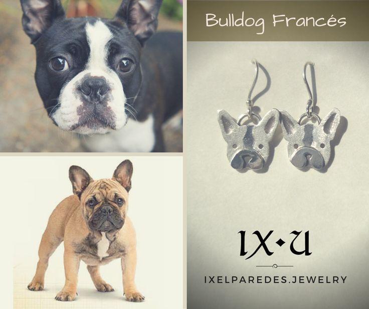 Bulldog Francés Aretes en Plata .950 Precio: $150 MXN