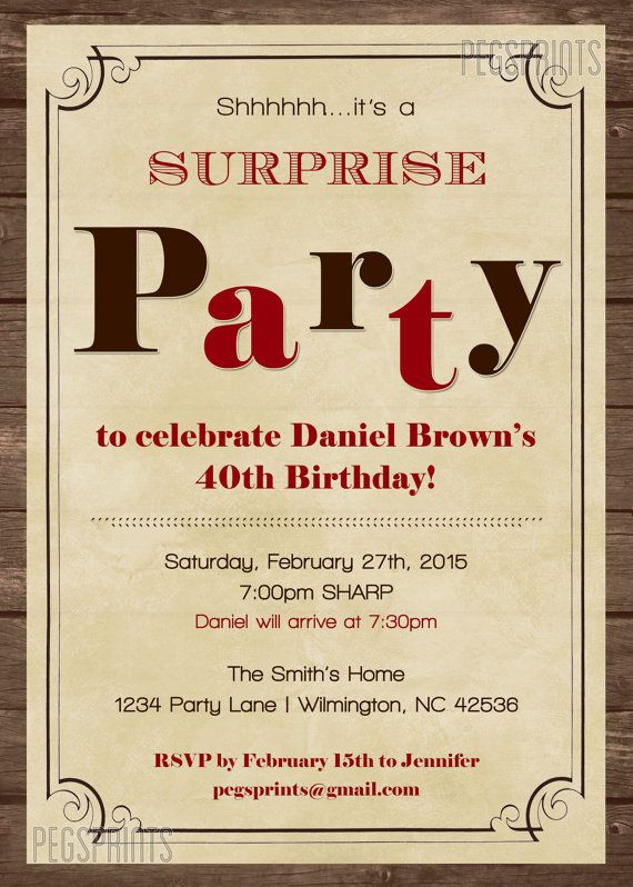 Surprise Birthday Invitations for Men Surprise by PegsPrints