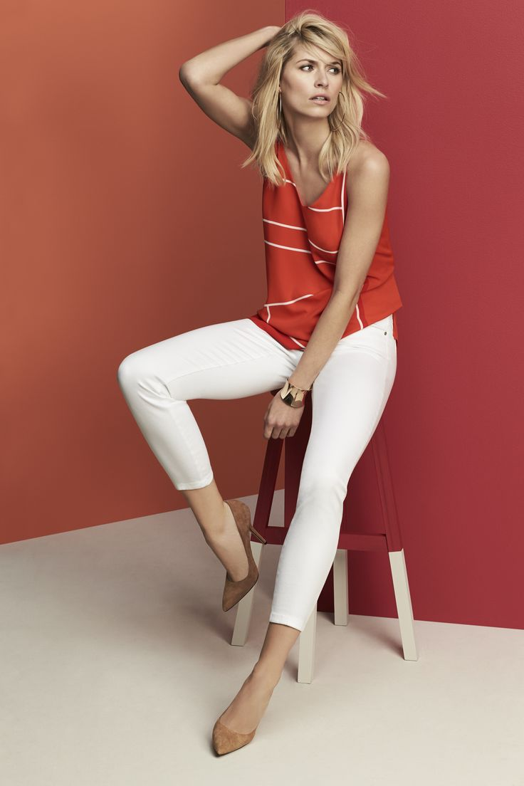 Don't shy away from bold and bright hues. Make a slinky crepe cami pop against sleek white denim.