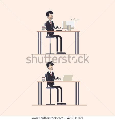 Young businessmen working using computer. Vector illustration modern flat and…