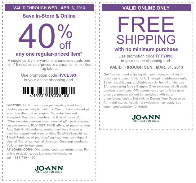 40 off a single item at JoAnn Fabric, or online via