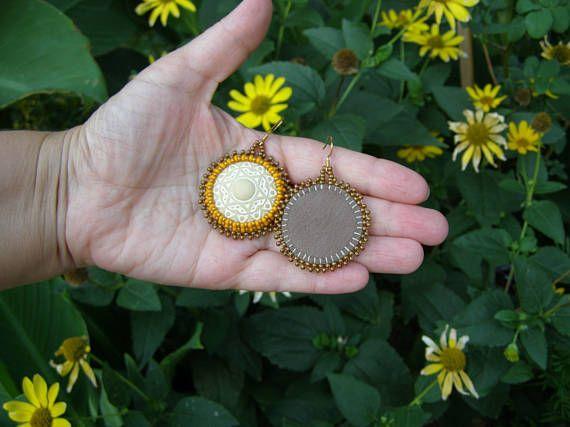 Gift for wife birthday beige earrings bead yellow mandala jewelry hoop earrings large abstract earrings tribal gold round earrings Orange
