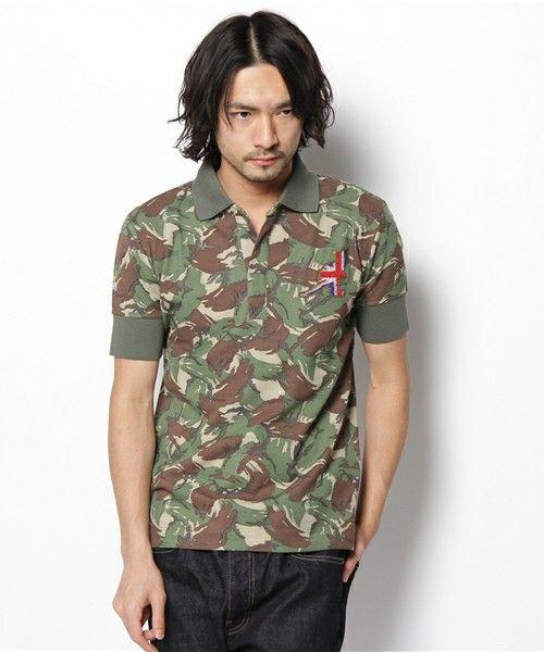 ESTNATION MEN(メン)のESTNATION別注 KANGOLカモフラポロシャツ (ポロシャツ) グリーン系カモフラージュ