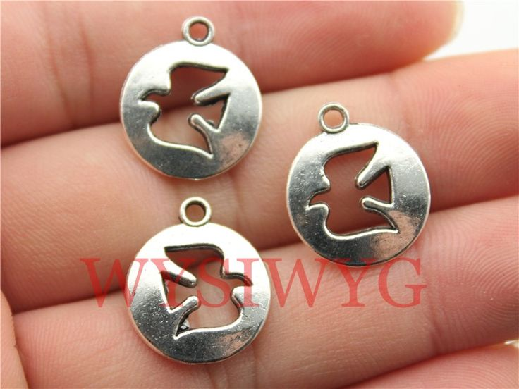 Wysiwyg 9pcs 15mm античный серебряные амулеты голубь мира