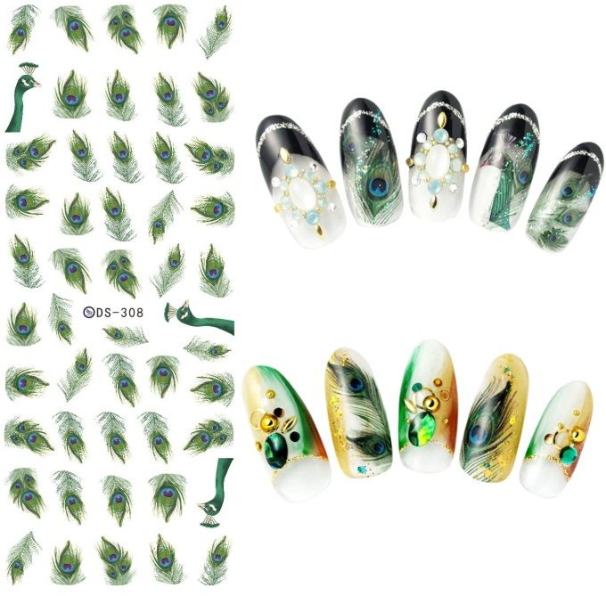 DS308 New Design Water Transfer Nails Art Sticker Harajuku Elements Green Peacock Feather Nail Wraps Sticker Manicura Decal