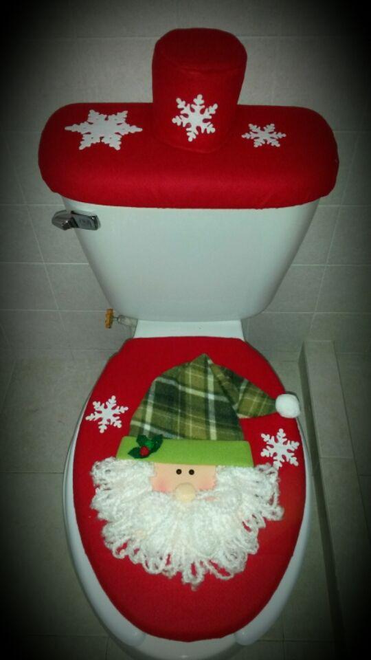 Juego de baño rojo Santa. Pedidos al 55 3888.0030