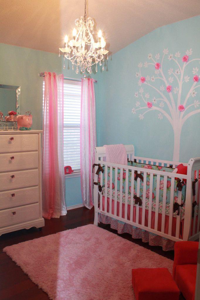 Project Nursery - Girl Shabby Chic Hot PInk and Aqua Nursery Room View