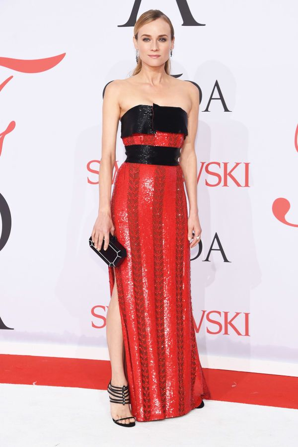 diane kruger in a strapless red and black sequin gown at the cfda awards