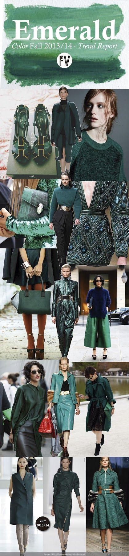 Trend Fall 14 FASHION VIGNETTE: [ TREND REPORT ] EMERALD by Marina Araujo Alvarez ..swept away emerald