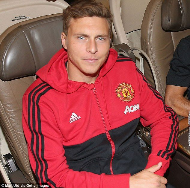 New signing Victor Lindelof relaxes on board the flight ahead of the pre-season tour