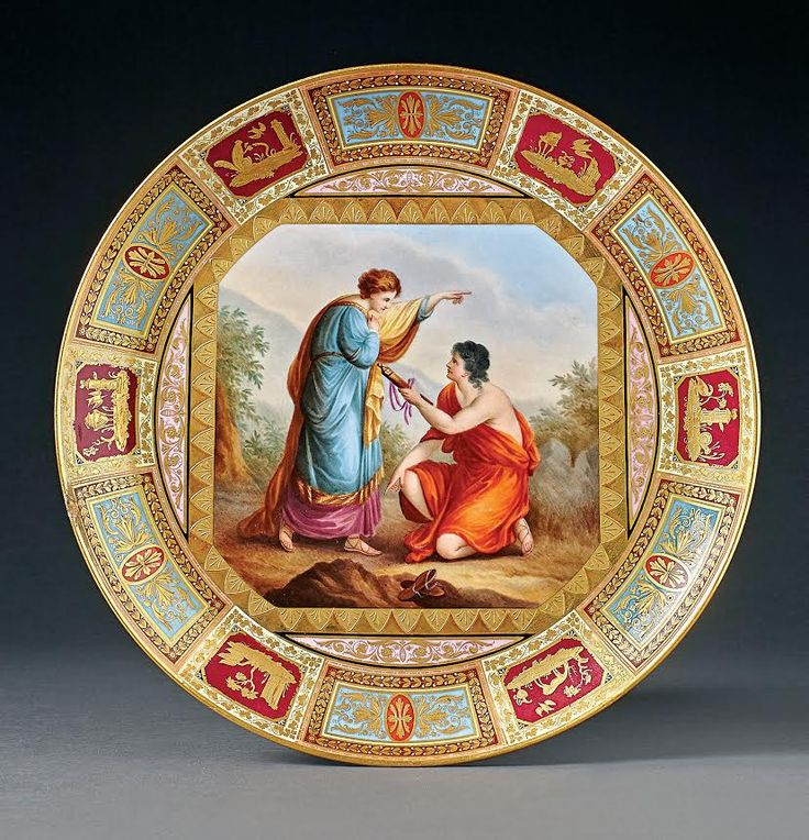 "A Viennese-style Pictorial Charger Porcelain Plate ""Achillies finds his father's weapons"", Eichwald (Bohemia), Bernhard Bloch around 1900. Ø 29,5 cm. Start price: 400 Euro."